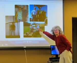Speaker Karen Bean of Brookfield Farm points to an image of WA beekeepers