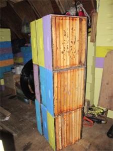 Alternate way to store drawn comb foundation, at Brookfield Farm, Maple Falls, WA